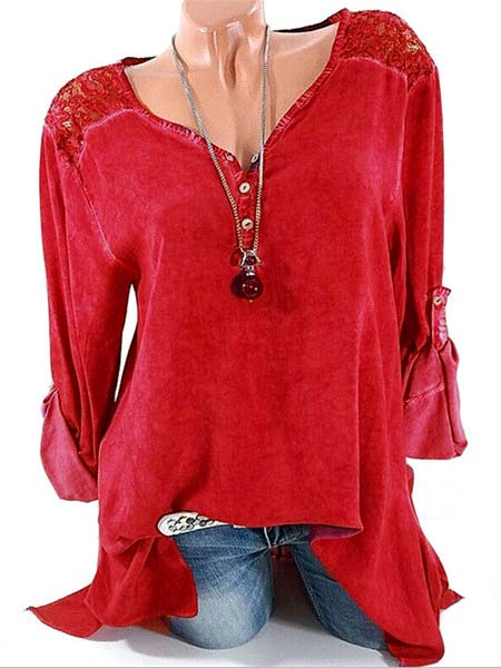 Long Sleeve Solid Basic V neck Buttoned Blouses