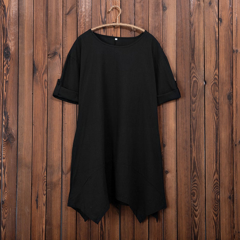 Women Plus Size Solid Short Sleeve Irregular Causal Tops T-shirt