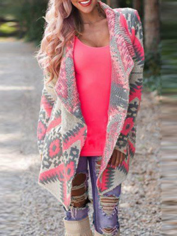Pink Long Sleeve Shawl Collar Knitted Outerwear