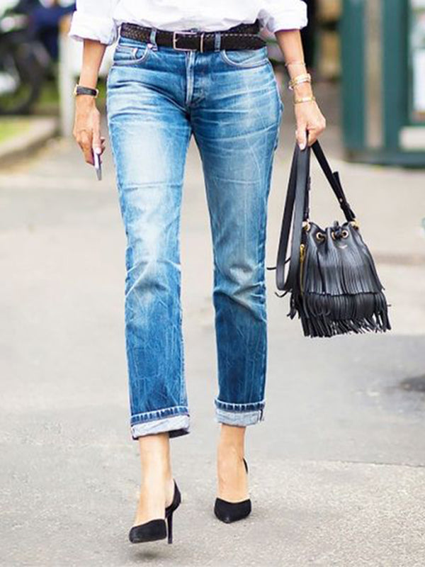 Blue Casual Shift Denim Pants