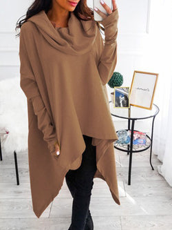 Cowl Neck Vintage Long Sleeve Outerwear