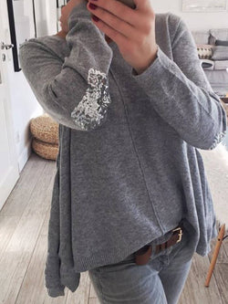 Gray Crew Neck Casual Plain Cotton Shirts & Tops