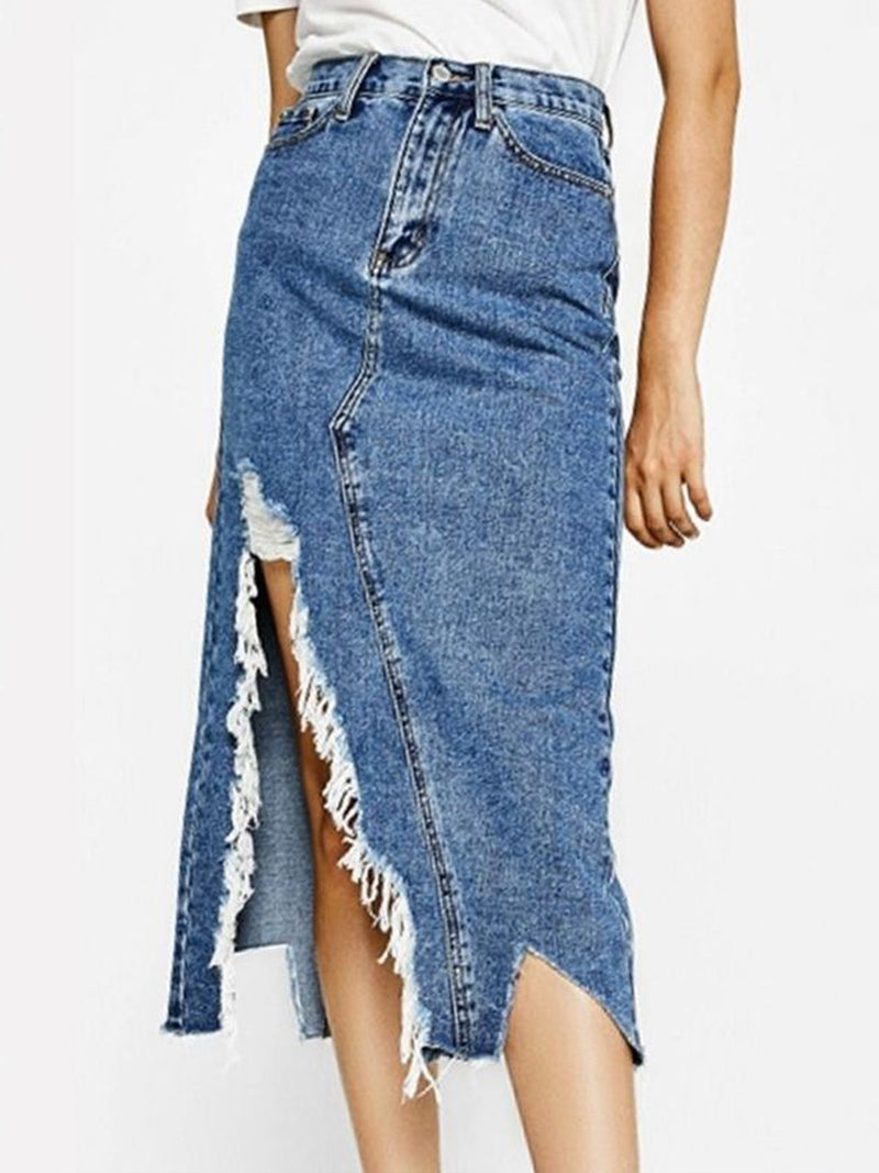 Women's  Casual Solid Denim   Skirts