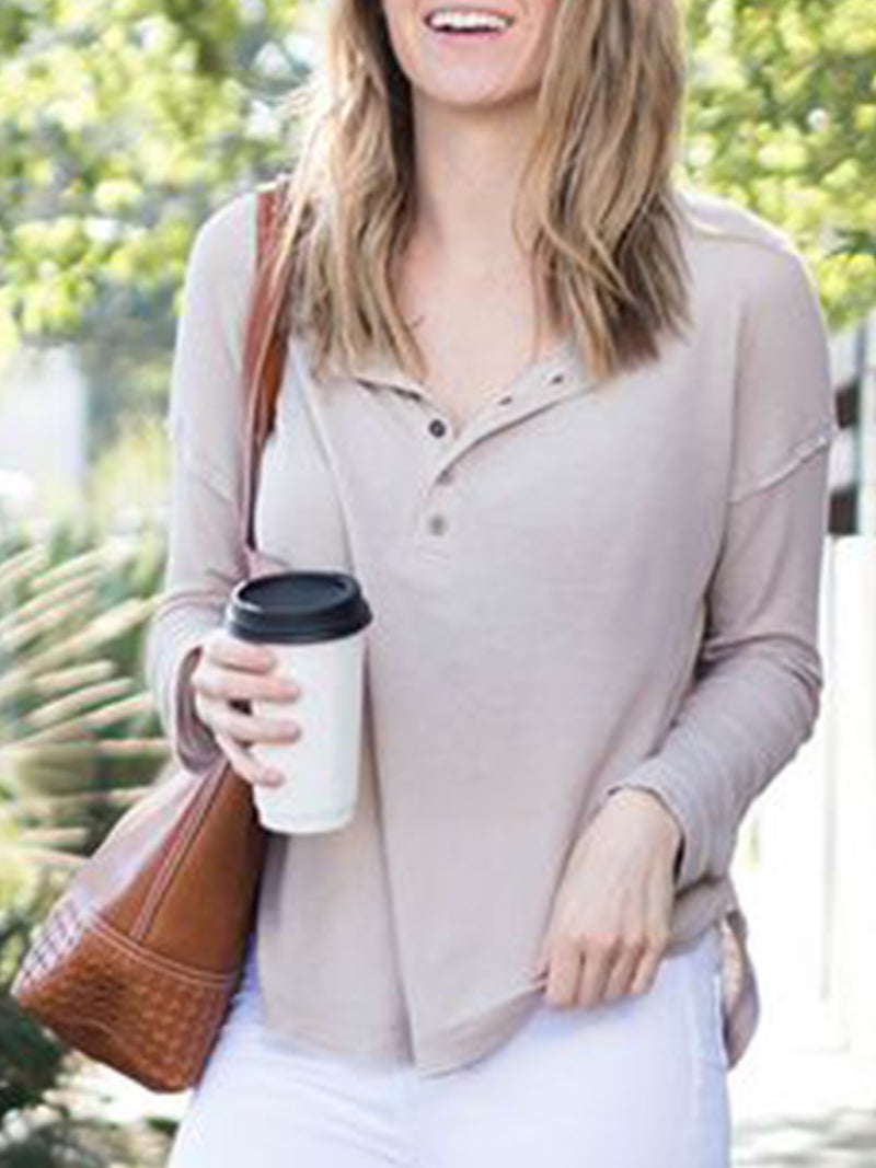 Plus Size Long Sleeve V Neck Casual Plain Tops