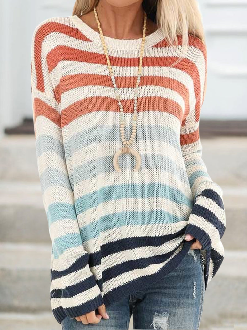 White Long Sleeve Crew Neck Plus Size Sweater