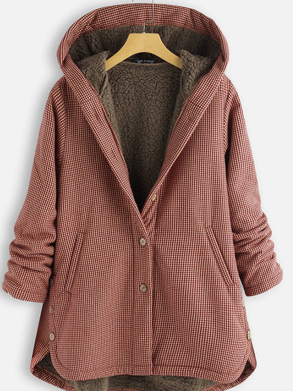 Buttoned Pockets Faux Fur Long Sleeve Hoodie Coat