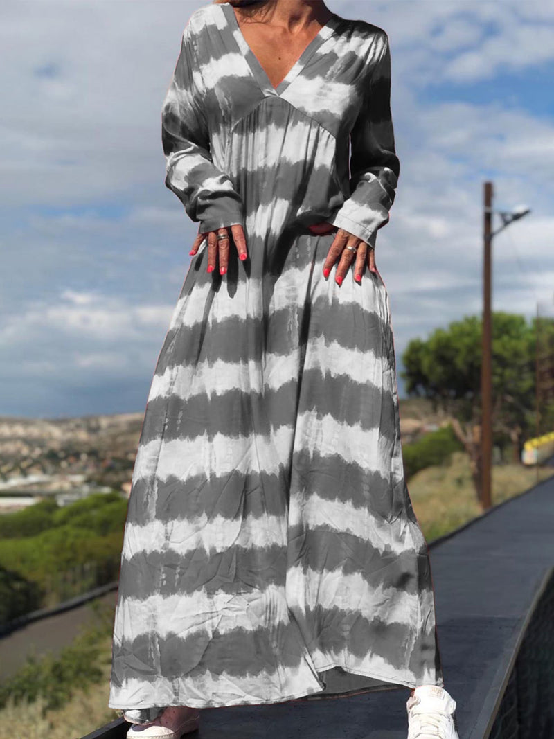 Plus Size Casual V Neck Long Sleeve Maxi Dresses