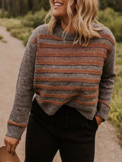 Brown Ombre/tie-Dye Casual Color-Block plus size Sweater