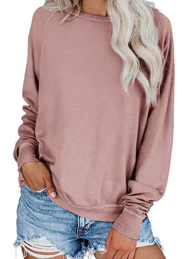 Cotton-Blend Long Sleeve Round Neck Casual Shirts & Tops