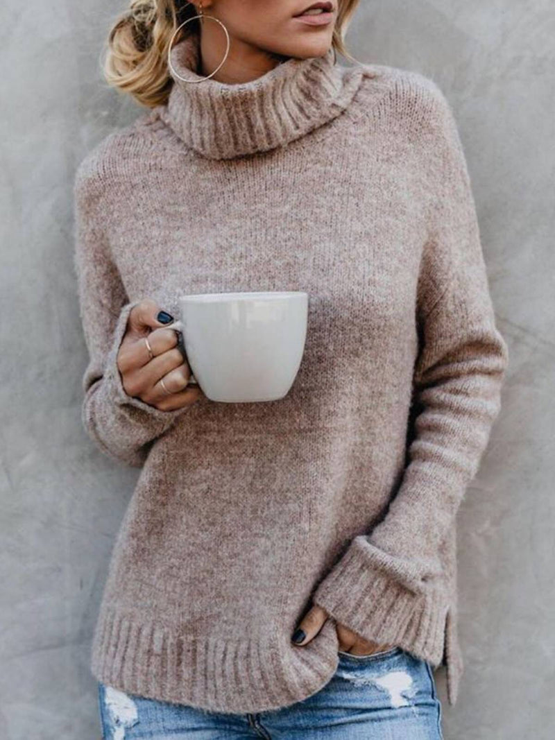 Grey Casual Acrylic Turtleneck Plus Size Sweater