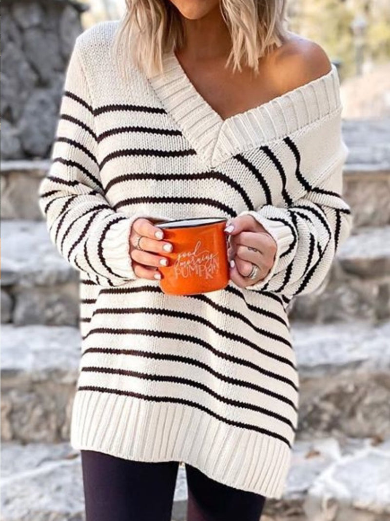 Plus Size Casual Stripes Long Sleeve V Neck Sweater