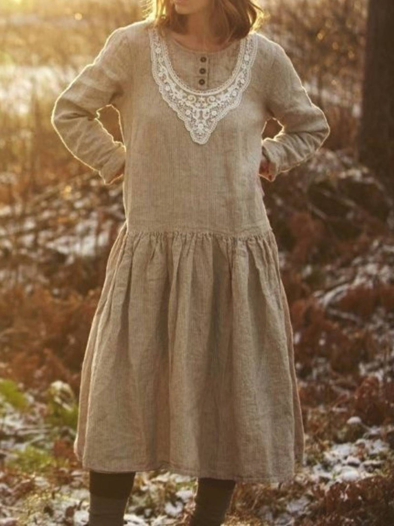 Grey Long Sleeve Vintage Solid Plus Size Dresses