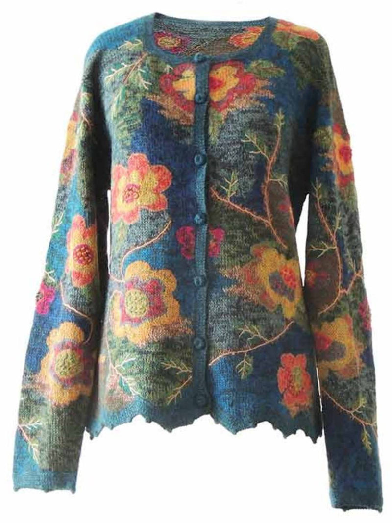 Blue Long Sleeve Printed Floral Crew Neck Plus Size Outerwear