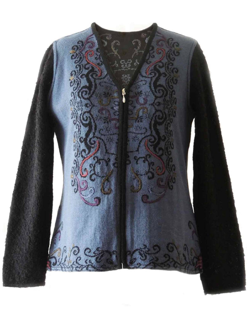 Blue Floral V Neck Long Sleeve Soft Stretchy Plus Size Outerwear