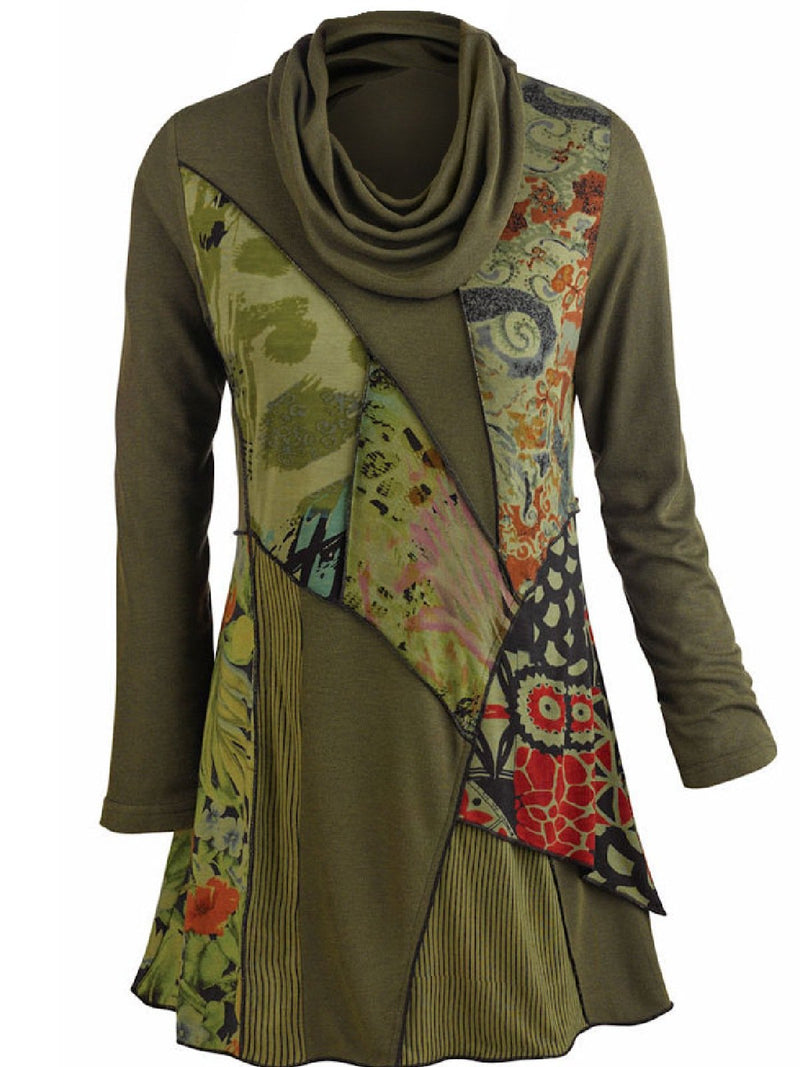 Woman Army Green Printed Long Sleeve Cowl Neck Shirts & Tops