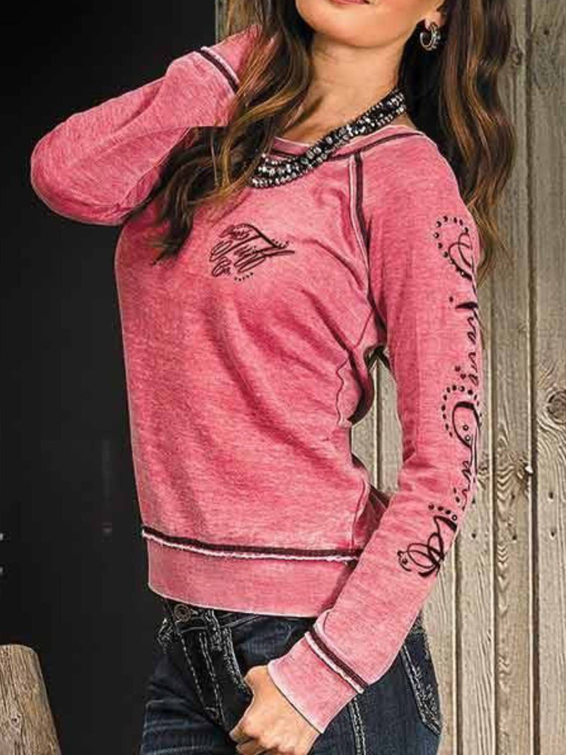 Pink Long Sleeve Crew Neck Plus Size Shirts