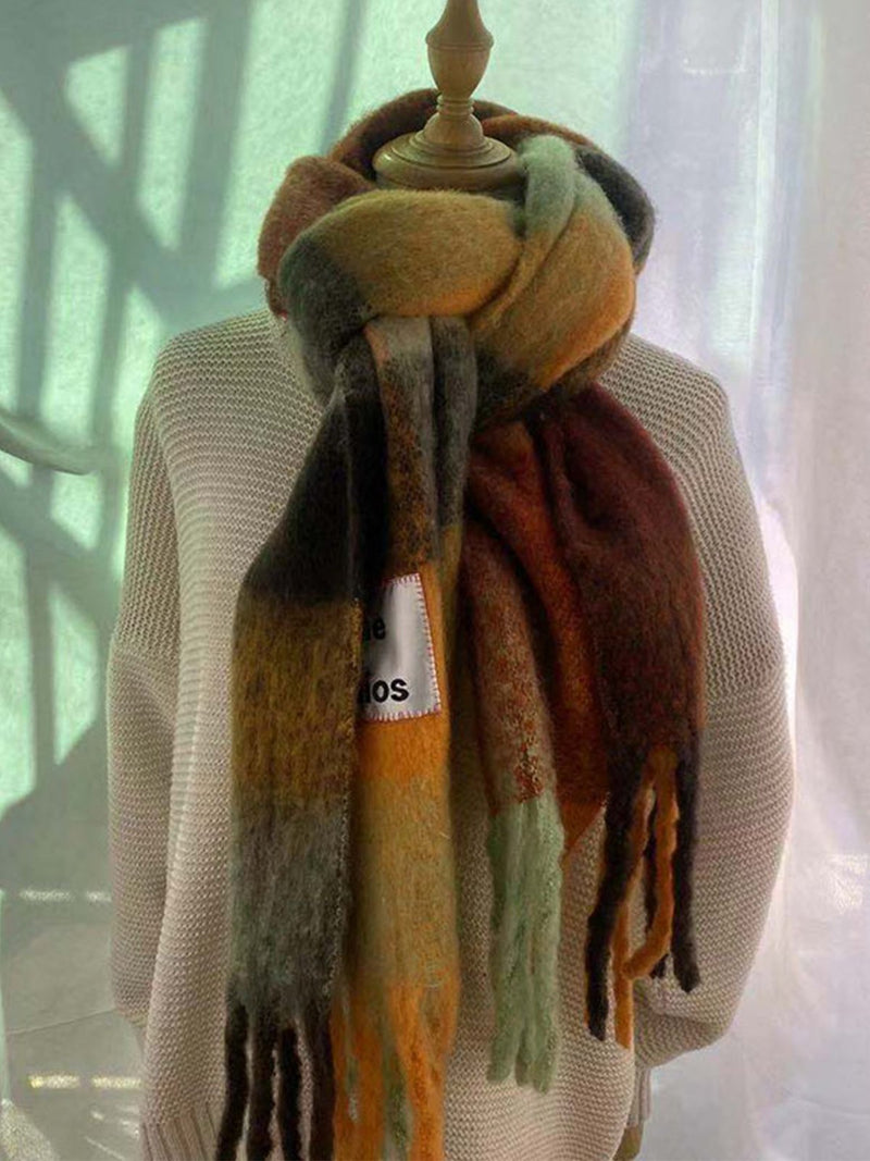 Plaid Vintage Warm Casual Scarves Shawls