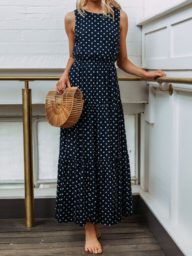 Women Sleeveless A-Line Big Hem Dress Polka Dots Dress