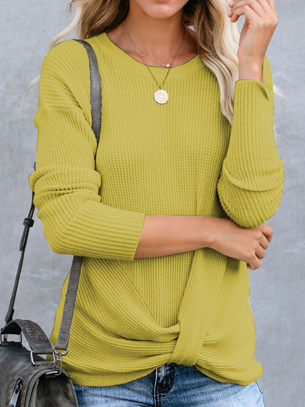 Knot Front Long Sleeves Solid Casual Tops