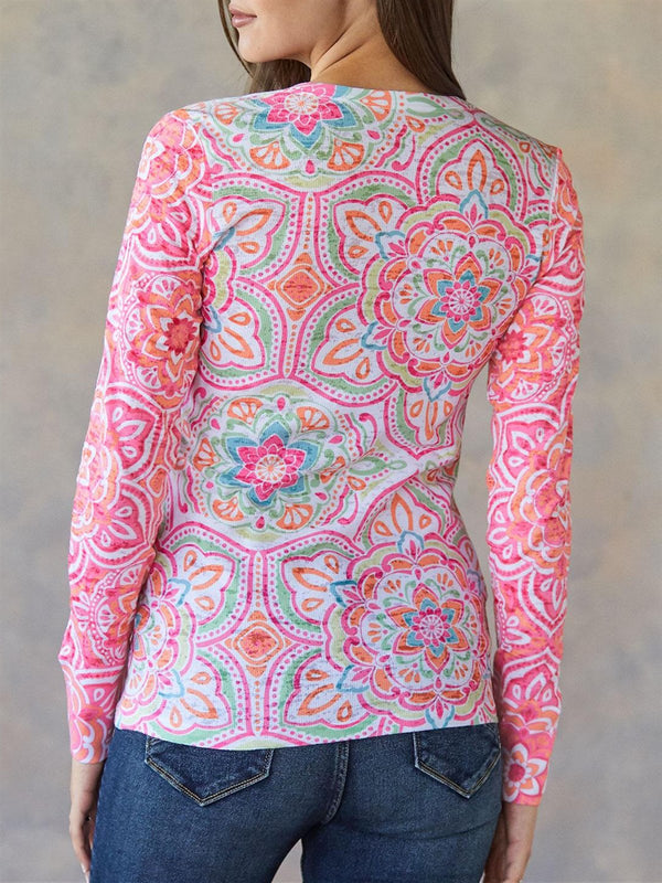 Pink Long Sleeve Floral Cotton Printed Shirts & Tops