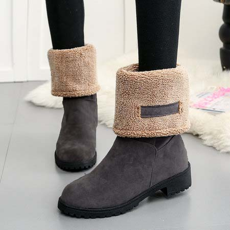 Women Snow Booties Casual Comfort Warm Square Heel Shoes