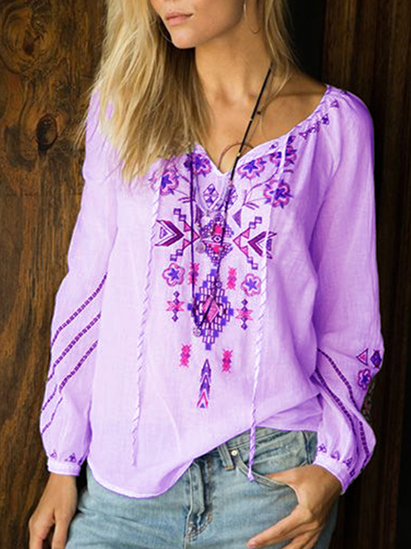 V Neck Casual Floral-Print Shirts & Tops