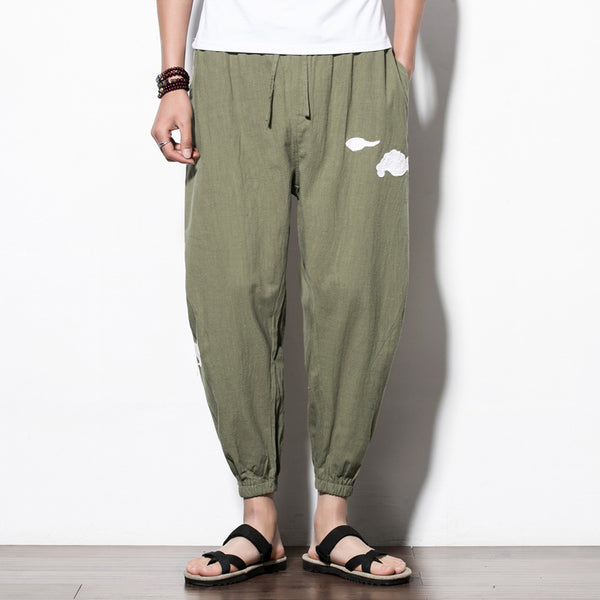 Chinese Style Loose Harem Pants Men's Embroidery Casual Pants