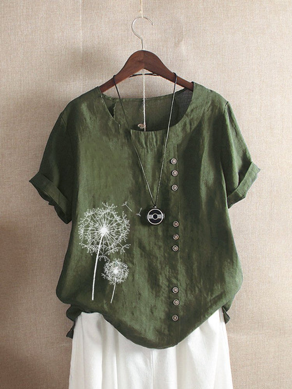 Vintage Crew Neck Print Flower Short Sleeve Button T-Shirt