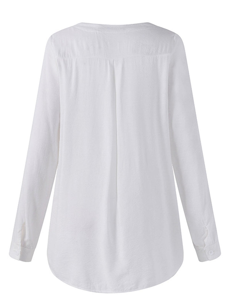 Long Sleeve Casual Embroidered Cotton Casual Tops
