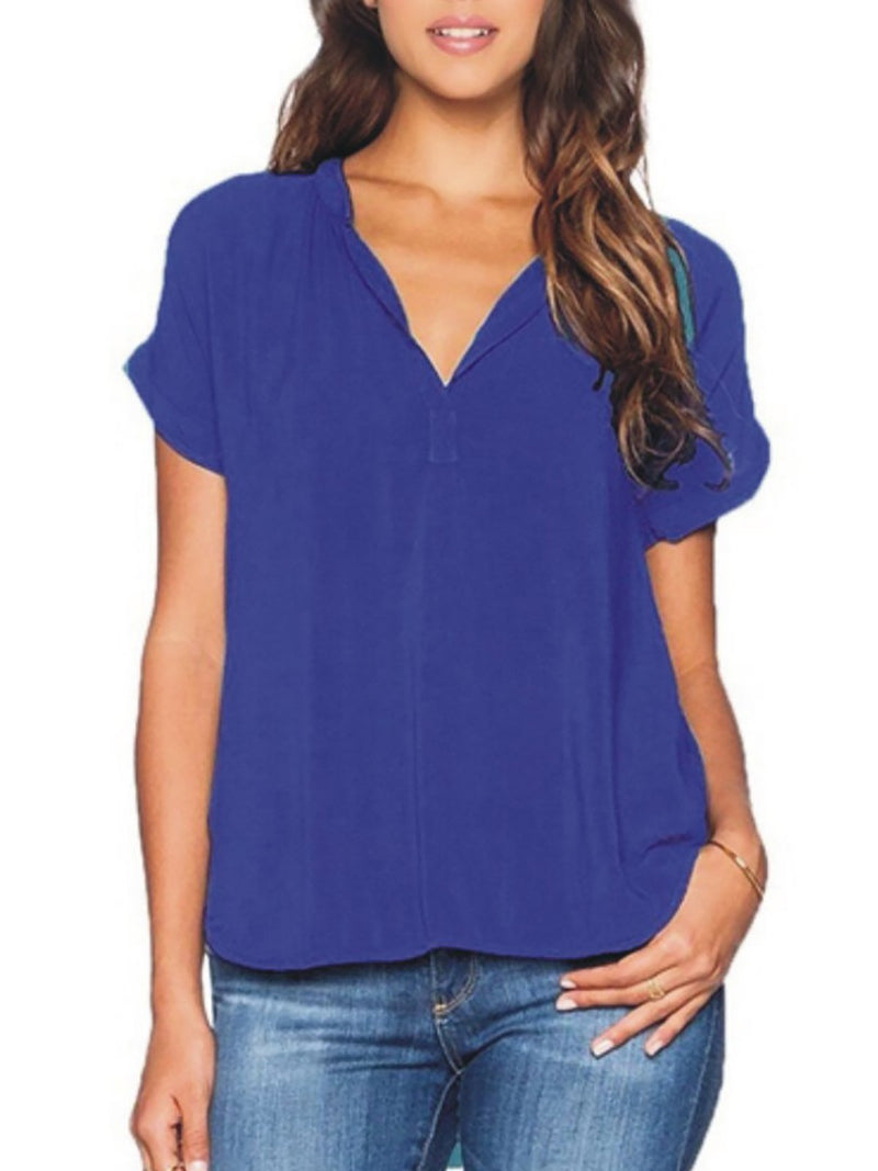 V Neck Casual Paneled Blouses