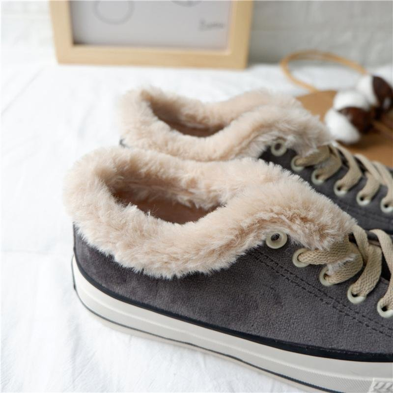 Noracora Womens Canvas Snow Sneakers Fur Lined Shoes