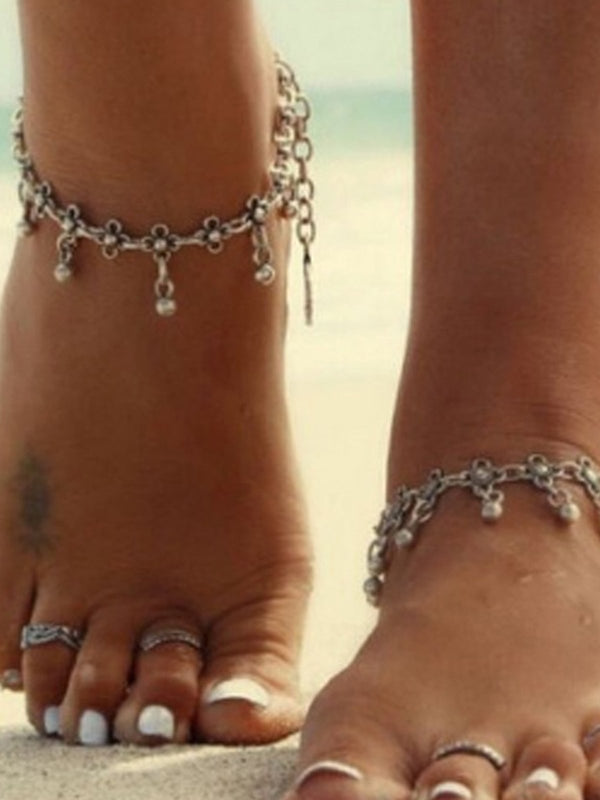 Simple Retro Metal Chain Water Drop Tassel Anklets