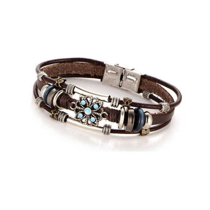 Bohemian handmade female punk leather bracelet