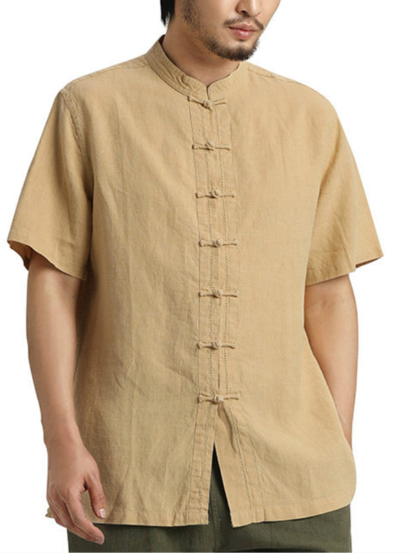 Vintage  Plain Shirt Collar Buttoned Short Sleeve Shirt