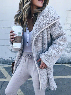 Women Faux Fur Long Sleeve Winter Cardigans With Hoodie Teddy Coat