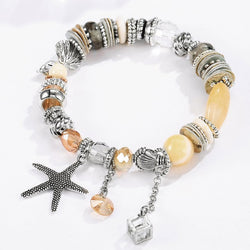 Bohemian natural stone crystal starfish shell lady bracelet