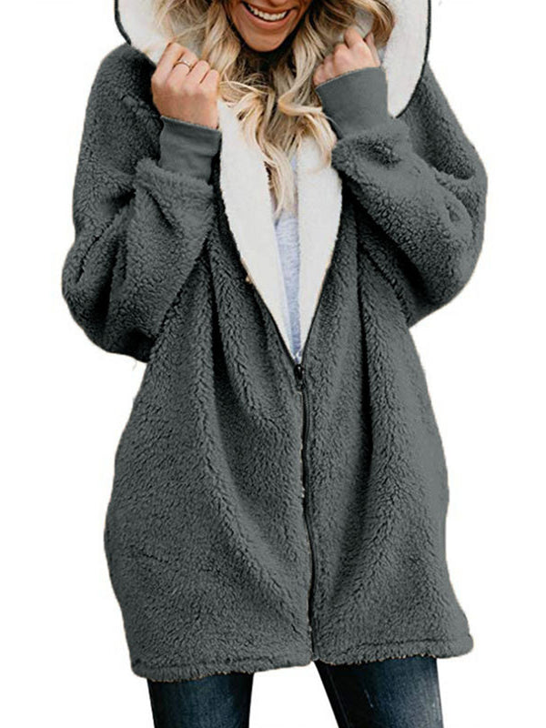 Women Fluffy Sherpa Coat Sweet Hoodie Teddy Bear Coats