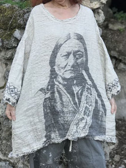 Women White Tribal Long Sleeve Casual Shirts & Tops