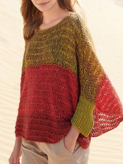 Plus size color matching knitting Cotton Casual Sweater