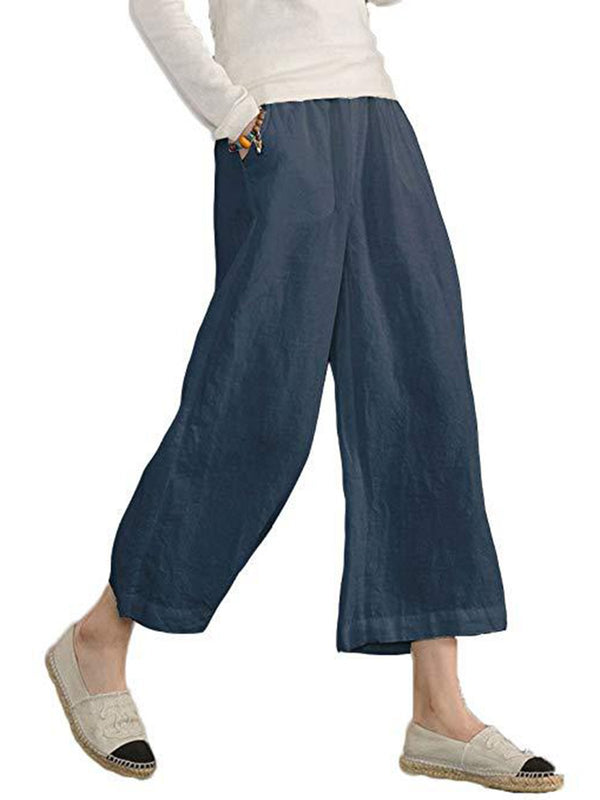 Plus Size Women Linen Casual Bottoms Solid Pockets Summer Pants