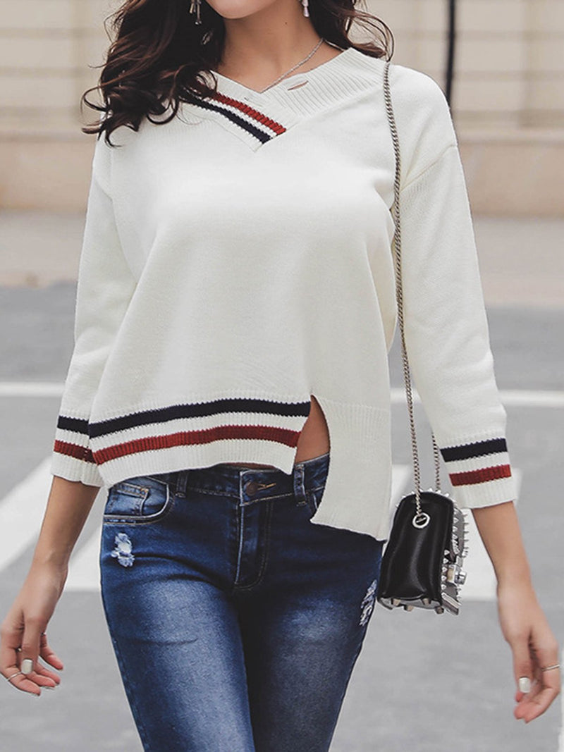 White Casual Acrylic Sweater