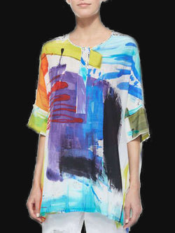 Women White Short Sleeve Ombre/tie-Dye Round Neck Shirts & Tops