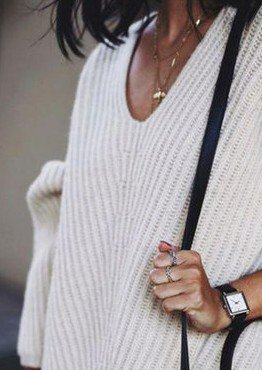 White Plain Long Sleeve Sweater