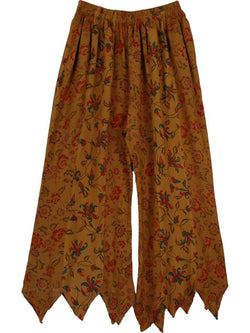 Women Brown Floral Vintage Pants
