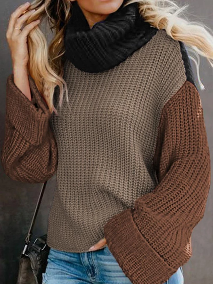Casual Basic Turtleneck Color-Block Shift Sweater