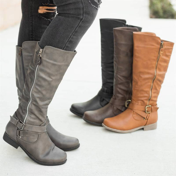 Casual Side Zipper Riding Boots