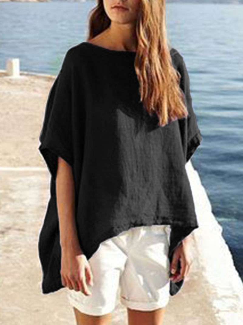 Short Sleeve Asymmetrical Simple & Basic Solid Shirts