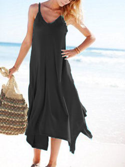 Cotton-Blend Cold Shoulder Holiday V Neck Dresses