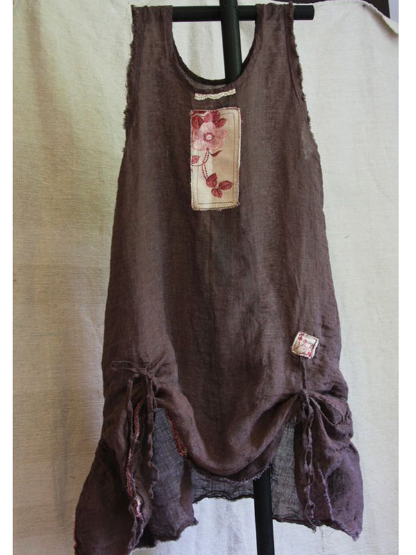Light Brown A-Line Cotton-Blend Sleeveless Patchwork Dresses
