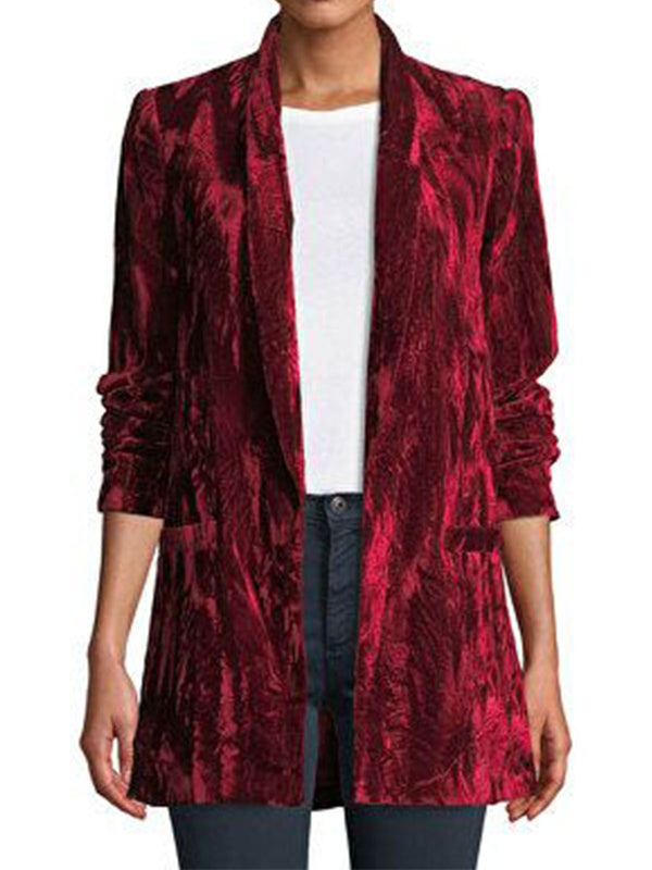Red Long Sleeve Velvet Outerwear